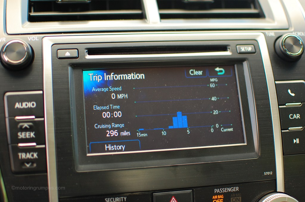 2012 Toyota Camry MPG Trip Information