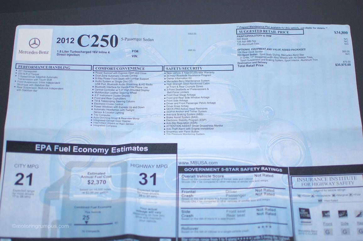 2012 Mercedes-Benz C250 Window Sticker